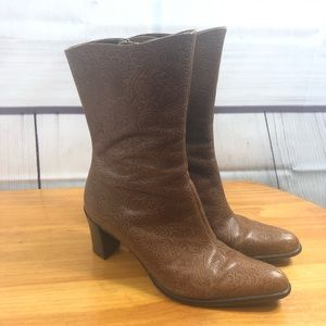 A. Marinelli Brown Tooled Leather Heeled Boots